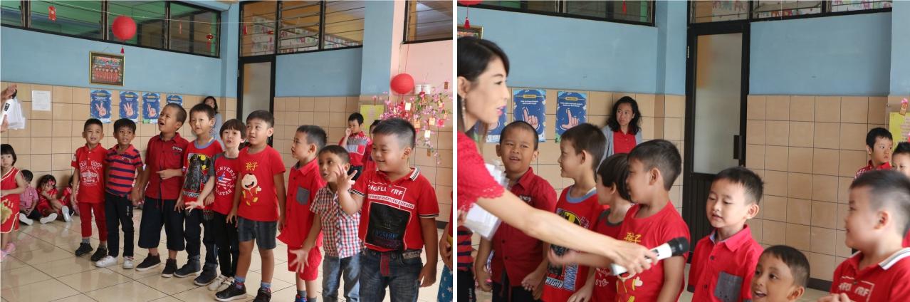Anak-anak ini antusias sekali mengikuti kuis bahasa Mandarin